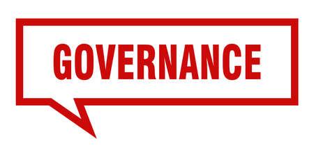 governance sign. governance square speech bubble. governance