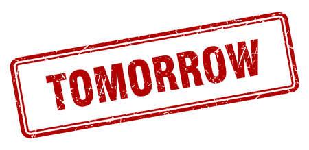 timbro di domani. domani segno quadrato del grunge. Domani Vettoriali