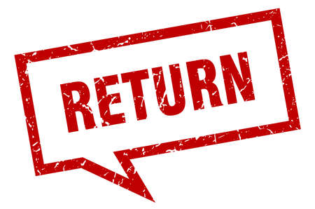 return sign. return square speech bubble. return