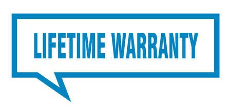 lifetime warranty sign. lifetime warranty square speech bubble. lifetime warranty Stock Vector - 126764139
