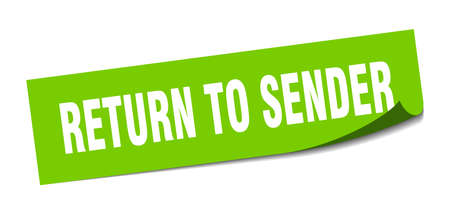 Return to sender sticker. Return to sender square isolated sign isolated on a white background. Stock Illustratie
