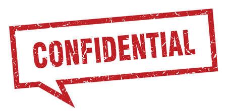 confidential sign. confidential square speech bubble. confidential Vector Illustration
