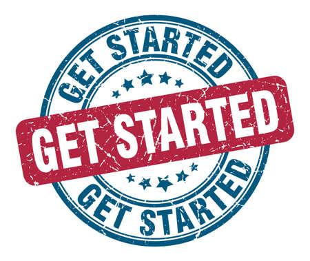 get started stamp. get started round grunge sign. get started Vector Illustratie