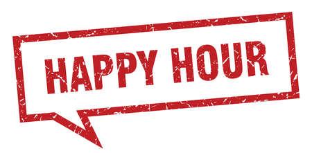 happy hour sign. happy hour square speech bubble. happy hour