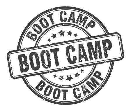 pieczęć obozu rozruchowego. boot camp okrągły znak grunge. obóz dla rekrutów Ilustracje wektorowe