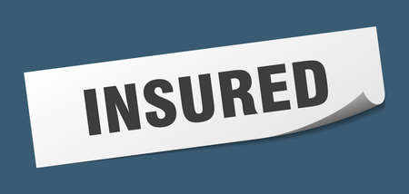 insured sticker. insured square isolated sign. insured