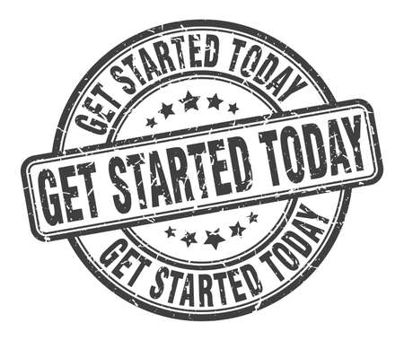 get started today stamp. get started today round grunge sign. get started today Ilustrace