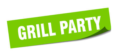 grill party sticker. grill party square isolated sign. grill party