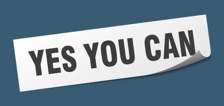 yes you can sticker. yes you can square isolated sign. yes you can Ilustrace