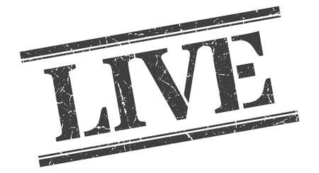 live stamp. live square grunge sign. live