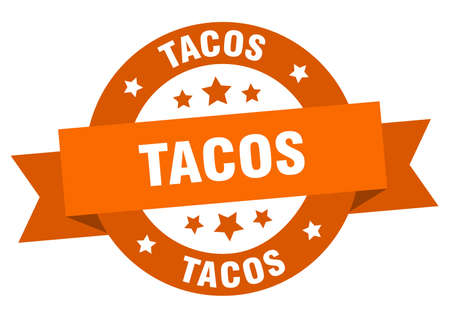 tacos ribbon. tacos round orange sign. tacos Vector Illustration