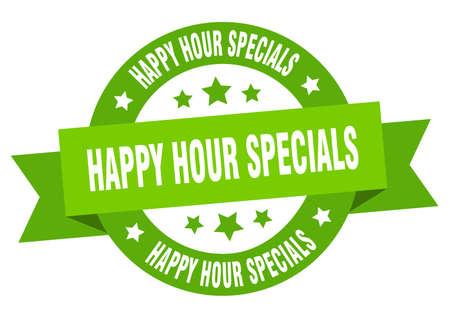 happy hour specials ribbon. happy hour specials round green sign. happy hour specials