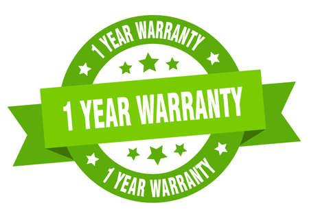 1 year warranty ribbon. 1 year warranty round green sign. 1 year warranty Ilustração