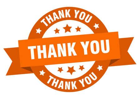 thank you ribbon. thank you round orange sign. thank you Ilustração