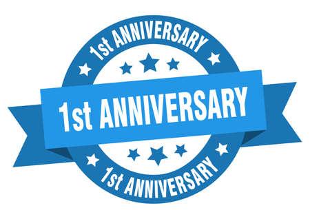 1st anniversary ribbon. 1st anniversary round blue sign. 1st anniversary Ilustração