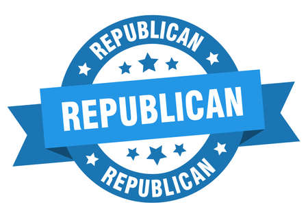 republican ribbon. republican round blue sign. republican Stock Illustratie