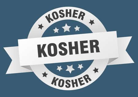 kosher ribbon. kosher round white sign. kosher