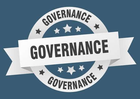 governance ribbon. governance round white sign. governance