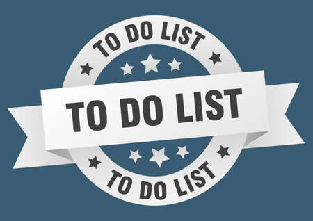 to do list ribbon. to do list round white sign. to do list Stock Illustratie
