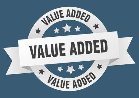 value added ribbon. value added round white sign. value added