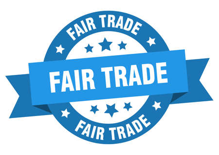 fair trade ribbon. fair trade round blue sign. fair trade Illustration