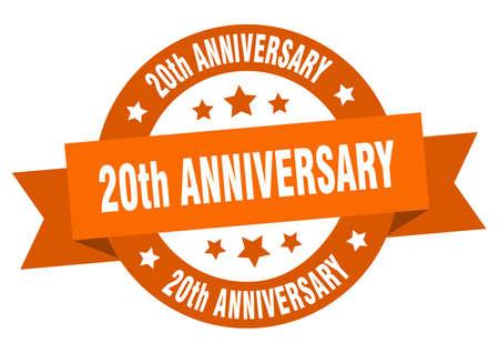 20th anniversary ribbon. 20th anniversary round orange sign. 20th anniversary Archivio Fotografico - 129642692