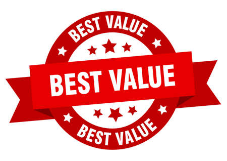 best value ribbon. best value round red sign. best value