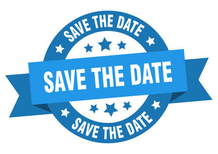 save the date ribbon. save the date round blue sign. save the date Vector Illustration