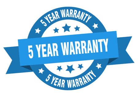 5 year warranty ribbon. 5 year warranty round blue sign. 5 year warranty Illustration