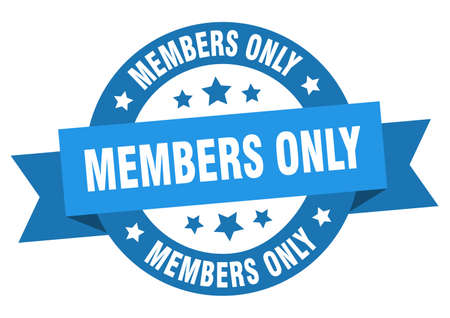 members only ribbon. members only round blue sign. members only Ilustração