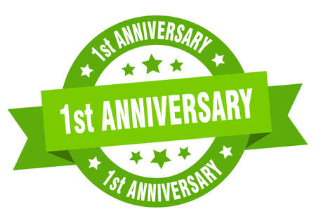 1st anniversary ribbon. 1st anniversary round green sign. 1st anniversary Ilustração