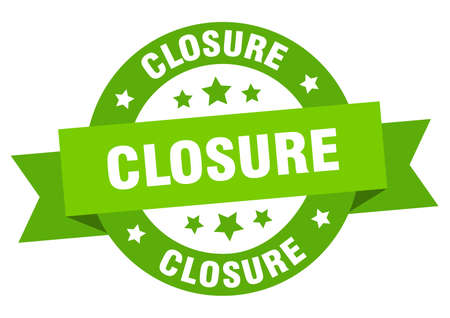 closure ribbon. closure round green sign. closure