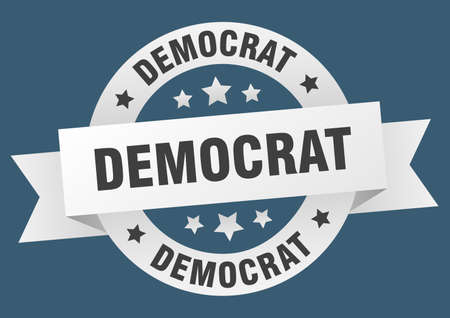 democrat ribbon. democrat round white sign. democrat