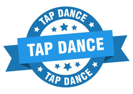 tap dance ribbon. tap dance round blue sign. tap dance