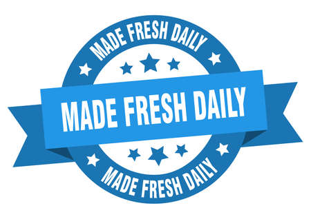 made fresh daily ribbon. made fresh daily round blue sign. made fresh daily Ilustração