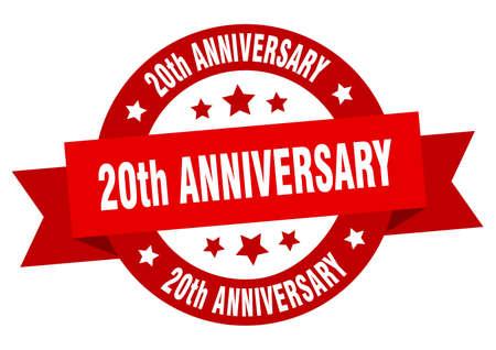 20th anniversary ribbon. 20th anniversary round red sign. 20th anniversary Archivio Fotografico - 129643184
