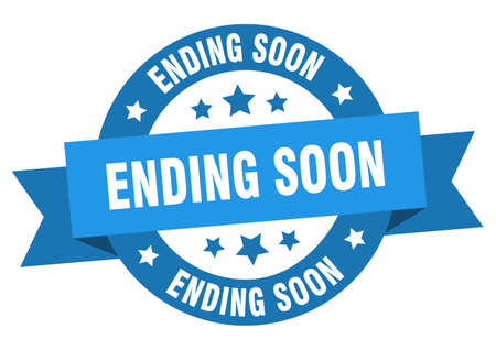 ending soon ribbon. ending soon round blue sign. ending soon Иллюстрация