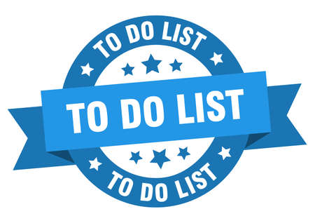 to do list ribbon. to do list round blue sign. to do list Stock Illustratie