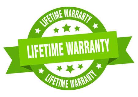 lifetime warranty ribbon. lifetime warranty round green sign. lifetime warranty