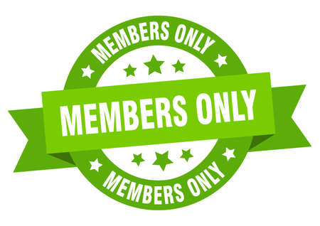 members only ribbon. members only round green sign. members only