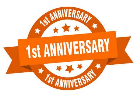1st anniversary ribbon. 1st anniversary round orange sign. 1st anniversary Banco de Imagens - 129644360