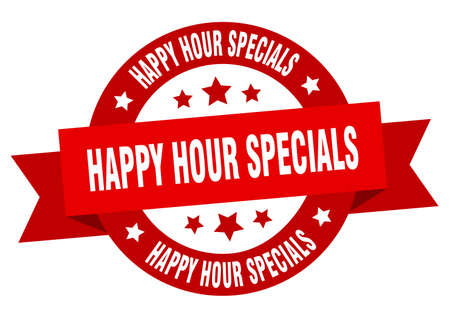 happy hour specials ribbon. happy hour specials round red sign. happy hour specials