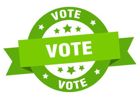 vote ribbon. vote round green sign. vote Stock Illustratie