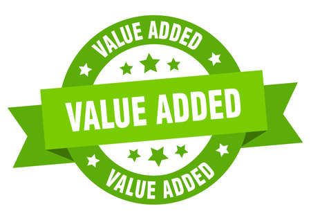 value added ribbon. value added round green sign. value added