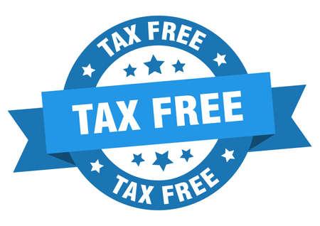 tax free ribbon. tax free round blue sign. tax free