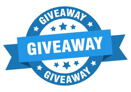 giveaway ribbon. giveaway round blue sign. giveaway