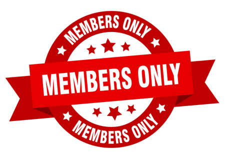 members only ribbon. members only round red sign. members only Ilustração