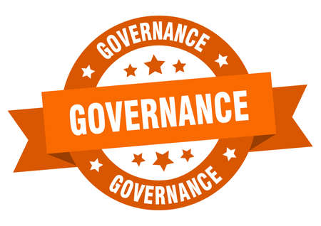 governance ribbon. governance round orange sign. governance