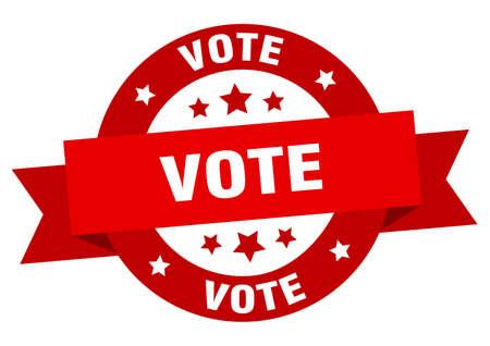 vote ribbon. vote round red sign. vote