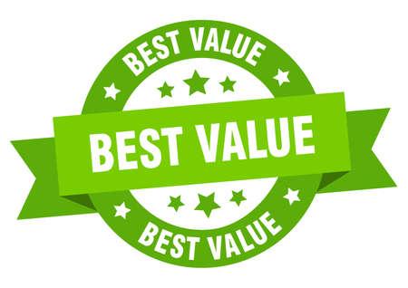best value ribbon. best value round green sign. best value